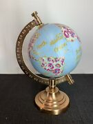 Threshold Decorative Globe On Copper Stand Painted With Flowers 7 1/2 Andldquo Tall