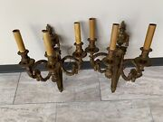Antique 19th Century Triple Arm French Gilded Bronze Sconces W/ Flaming Urn Dec.