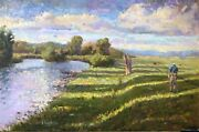 Original Oil Painting Colorado River Fly Fishing Landscape Mountains 24x36 Haigh