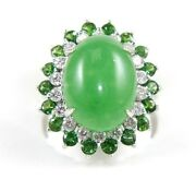 Oval Jadeite Jade And Green Diamond Halo Solitaire Ring 14k White Gold 10.85ct