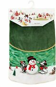 New Disney Mickey And Minnie Mouse And Friends Christmas Green Holiday Tree Skirt