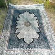Yilong 4and039x6and039 Blue Silk Rugs Handmade Carpet Flooring Turkish Hand Knotted 479a
