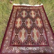 Yilong 4and039x6and039 Floral Silk Area Rugs Handmade Carpet Home Decor Hand Knotted 109a