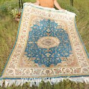 Yilong 4and039x6and039 Blue Silk Area Rugs Handcraft Home Decor Carpet Hand Knotted 118a