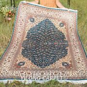 Yilong 4and039x6and039 Blue Leaf Design Silk Rugs Handmade Carpet House Hand Knotted 049a