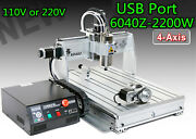 4axis Usb 6040z-2200w 2.2kw Er20 Spindle Mach3 Cnc Engraving Mill Machine 220v