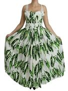 Dolce And Gabbana Dress White Green Peas Princess Long Gown It38 /us4/ S Rrp 2800