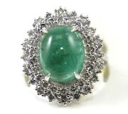 Natural Oval Cabochon Green Emerald And Diamond Cluster Ring 14k White Gold 7.05ct