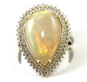 Natural Pear Fire Opal And Diamond Halo Solitaire Ring 14k Yellow Gold 6.92ct