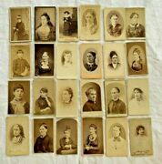 Fancy Victorian Women Jewelry Lot 24 Cdv's Carte Visite Cabinet Cards Photos Oh