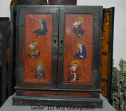 21.2 Old Chinese Wood Lacquerware Dynasty Arhat Buddha Drawer Cupboard Cabinet