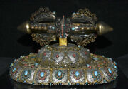 13.6old Tibet Buddhism Silver Wire Crystal Inlay Turquoise Phurba Dagger Holder