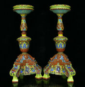 17.6qianlong Marked China Famille Rose Porcelain Candle Holder Candlestick Pair