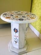 24x24 Marble Top Dining Table Filigree Art Multi Stone Floral Inlay With Grill