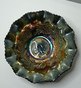 Antique Black Amethyst Carnival Glass Bowl - Piping Strike Magpie And Wattle
