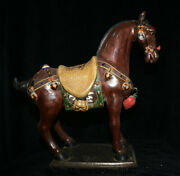 20.2 Antique Old China Wucai Porcelain Pottery Tang Dynasty Stand Horse Statue