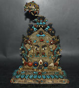 10old Tibet Nepal Buddhism Silver Wire Turquoise Gem Dragon People Face Shrines