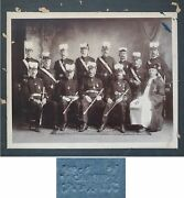 Masonic Group Men W Priest In Amazing Uniforms Medals Orders Antique Photo