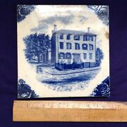 Rare Antique Wedgwood Tile Longfellow House By Wadsworth Portland Maine
