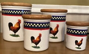 International Tableworks Ella's Rooster Canister Set 4 Canisters With 4 Lids