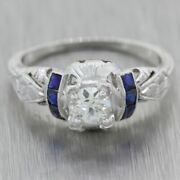 1930s Antique Art Deco 14k White Gold 0.60ctw Sapphire And Diamond Engagement Ring