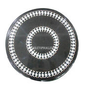 18 Black Marble Round Coffee Table Top Mosaic Inlay Furniture Home Decor H542