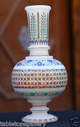 White Marble Flower Jar Semi Mosaic Inlaid Art Decor Marvelous Home Gifts H1959