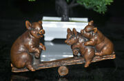 7.2 Old Chinese Boxwood Wood Hand Carved Feng Shui 12 Zodiac Animal Pig Statue