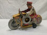 Marx Toys Tin Litho Wind Up Police Department Motorcycle With Side Car Works