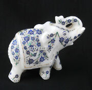 3and039and039 White Marble Elephant Sculpture Lapis Mosaic Gift Collectible Art Deco H3767