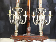 Pair Antique Electrical Hookup 3 Light Wall Sconces