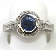 Natural Round Blue Sapphire And Diamond Bezel Ladyand039s Ring 18k White Gold 2.75ct