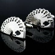Fabulous Awesome Solid 925 Sterling Silver Men's Classic Playing Card Cuff Links