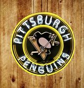 New Pittsburgh Penguins Hockey Neon Light Lamp Sign 24x24 Real Glass Beer Bar