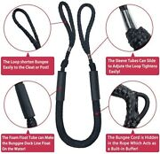 2pcs Black 4-5.5 Ft Bungee Dock Line Mooring Rope Cords For Boat Stretch