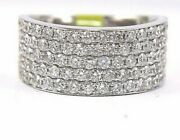 Natural Round Diamond 5-row Cluster Dome Wide Ring Band 14k White Gold 1.77ct