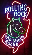 The Shore Rocks Rolling Rock Extra Pale 33 Beer Neon Light Lamp Sign 24x20