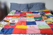 Vintage Americana Patriotic Abc Hand Made Hand Embroidered Quilt 74 X 60 Ooak