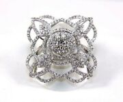 Natural Round Diamond Cluster Flower Shape Ladyand039s Ring 14k White Gold 1.20ct