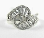 Natural Round Diamond Bypass Criss Cross Ladyand039s Ring Band 14k White Gold .42ct