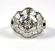 Natural Round And Emerald Cut Diamond Square Cluster Ring 18k White Gold 1.91ct