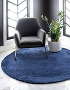 Unique Loom Solo Collection Solid Plush Kids Navy Blue Round Rug 8' 0 X 8' 0