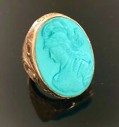 Carved Turquoise 14k Yellow Gold Ring Big Mens Or Womans Ring Symbol Of Wisdom