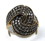 Natural Round Brown Diamond Cluster Bypass Weave Ring 14k Yellow Gold 3.18ct