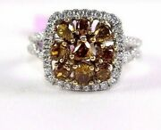 Natural Intense Yellow Diamond Cluster Mix Cut Square Ring White Gold 1.90ct