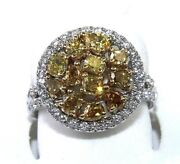 Natural Canary Yellow Round Diamond Mix Cut Cluster Ring 14k White Gold 2.36ct