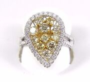 Natural Round Yellow Diamond Cluster Pear Shape Ring 14k White Gold 2.37ct
