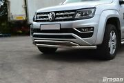 Double Spoiler Bar For Volkswagen Amarok 16+ V6 Stainless Front City Nudge Chin