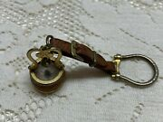 Vintage Italy Wishing Well Compass Watch Fob Leather Goldtone Or Plate 1930s
