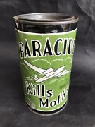 Rare Vintage Paracide Kills Moths Tin Can Aviation Airplane Not Motor Oil Cans